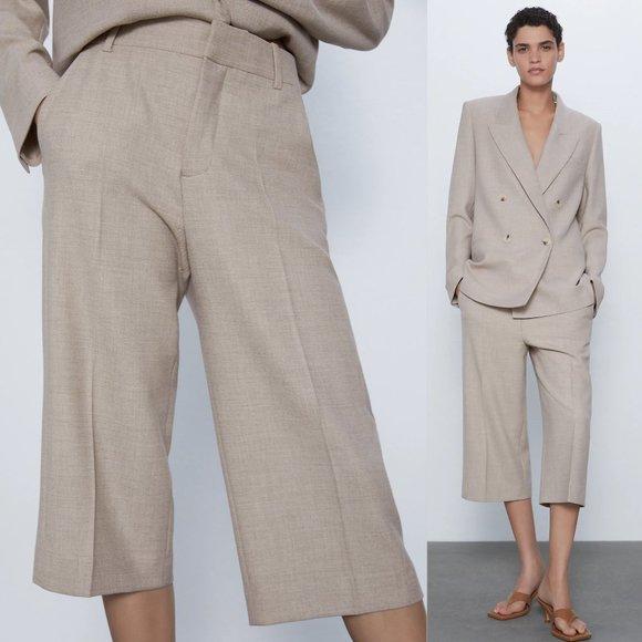 NEW Zara Light Tan Seam Detail Culotte Crop Pants